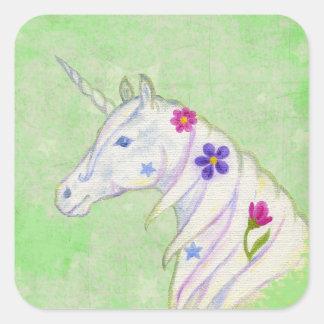 Pegatina verde del unicornio de la flor