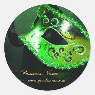 Pegatina verde elegante del negocio de la máscara