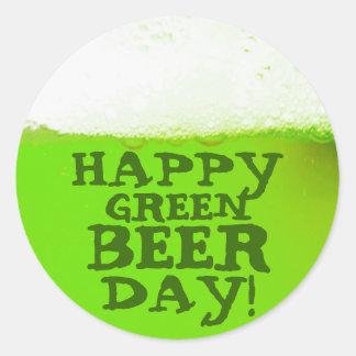 Pegatina verde feliz del irlandés del día de la