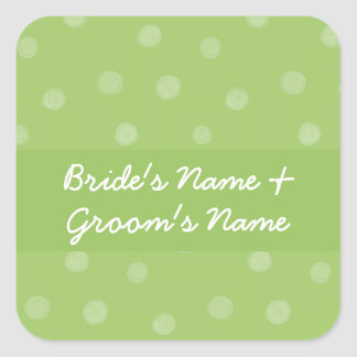 Pegatina verde pintado del cuadrado del boda de