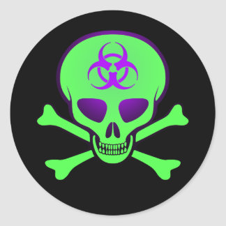 Pegatina Verde-Púrpura del cráneo del Biohazard