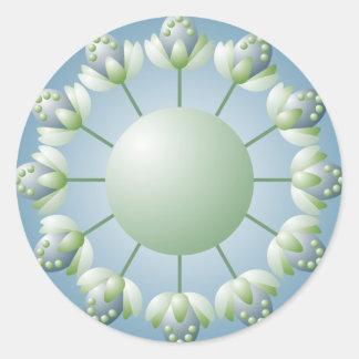 Pegatina verde y azul del brote de flor