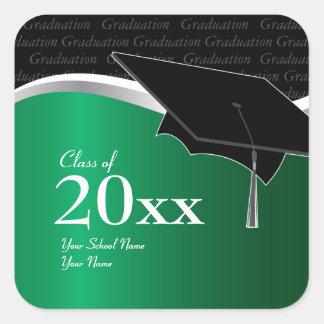 Pegatina verde y negro adaptable de la graduación