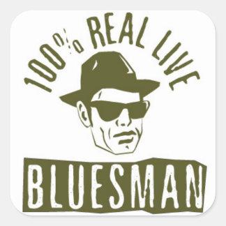 Pegatina vivo real del cuadrado del Bluesman del