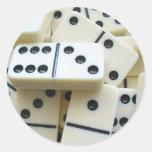 Pegatinas 005 de los dominós etiqueta redonda