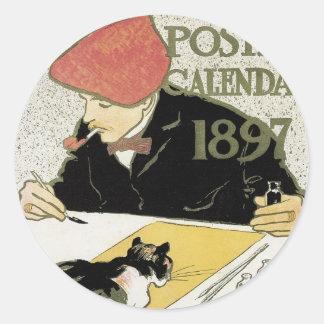 Pegatinas 1897 de Nouveau del arte Pegatinas Redondas