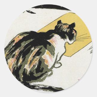 Pegatinas 1897 de Nouveau del arte del gato del Pegatinas Redondas