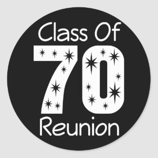 Pegatinas 1970 de la reunión de antiguos alumnos etiquetas redondas