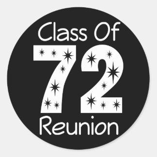 Pegatinas 1972 de la reunión de antiguos alumnos etiqueta redonda