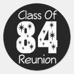 Pegatinas 1984 de la reunión de antiguos alumnos pegatinas redondas
