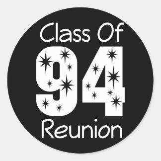 Pegatinas 1994 de la reunión de antiguos alumnos etiqueta redonda