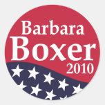 Pegatinas 2010 de la solapa de Barbara Boxer Etiqueta Redonda