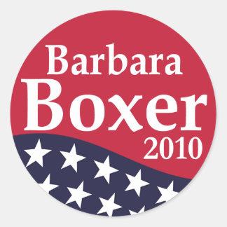 Pegatinas 2010 de la solapa de Barbara Boxer Pegatina Redonda
