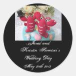 Pegatinas 2 del boda de la langosta etiquetas redondas