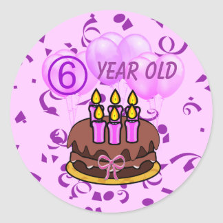 Pegatinas 6 años ultra lindos de la torta de pegatinas redondas