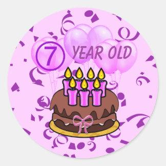 Pegatinas 7 años ultra lindos de la torta de etiquetas redondas