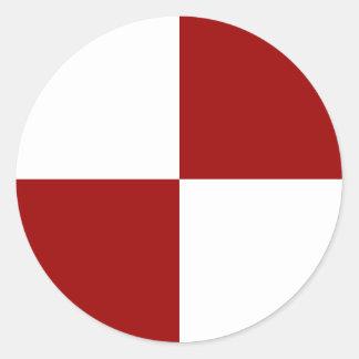 Pegatinas a cuadros rojos y blancos pegatina redonda