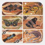 Pegatinas aborígenes del collage calcomania cuadradas personalizadas