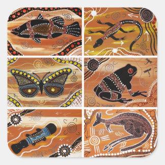 Pegatinas aborígenes del collage pegatina cuadrada