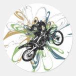 Pegatinas abstractos de la bici de la suciedad pegatina redonda