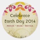 Pegatinas abstractos florales del Día de la Tierra Etiqueta Redonda