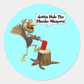 Pegatinas - acción de gracias divertida Turquía Pegatina Redonda