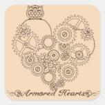 Pegatinas acorazados de Steampunk de los corazones Calcomanía Cuadradas Personalizada