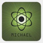 Pegatinas adaptables atómicos Nerdy, verdes Calcomania Cuadrada Personalizada