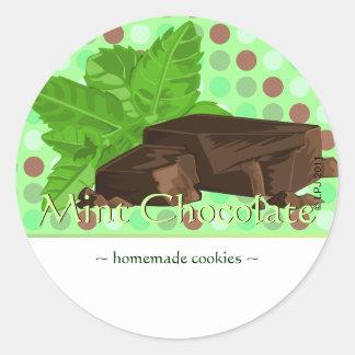 Pegatinas adaptables del chocolate de la menta pegatina redonda