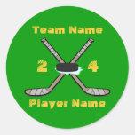Pegatinas adaptables del hockey etiqueta redonda