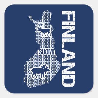 Pegatinas adaptables del MAPA de FINLANDIA Pegatina Cuadradas Personalizada