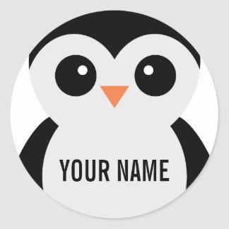 Pegatinas adaptables del pingüino etiqueta redonda