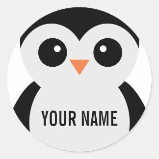 Pegatinas adaptables del pingüino pegatina redonda