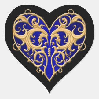 Pegatinas afiligranados azules del corazón pegatina en forma de corazón