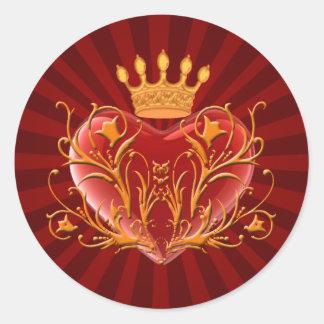 Pegatinas afiligranados del corazón de la corona pegatina redonda