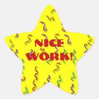 Pegatinas agradables de la recompensa del trabajo pegatina en forma de estrella