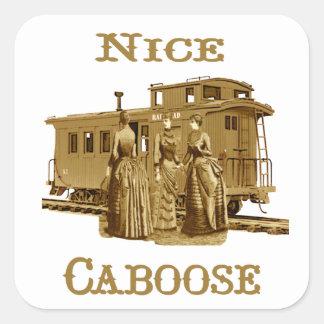 Pegatinas agradables del Caboose Pegatina Cuadrada