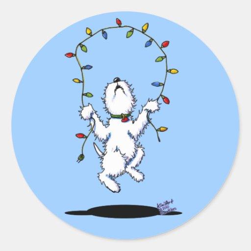 Pegatinas alegres de Westie del navidad Pegatinas Redondas
