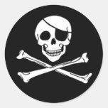 Pegatinas alegres del pirata de Rogelio Etiqueta Redonda