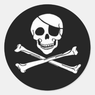 Pegatinas alegres del pirata de Rogelio Pegatina Redonda