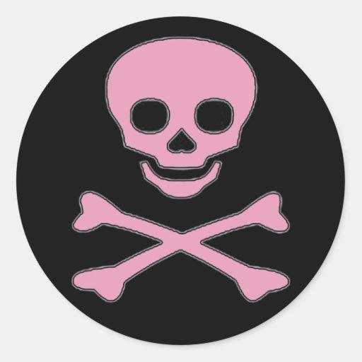 Pegatinas alegres rosados del pirata del chica de pegatina redonda