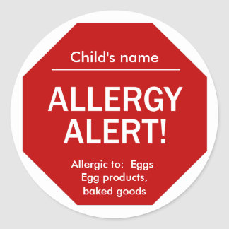 Pegatinas alertas de la alergia pegatina redonda