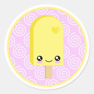 Pegatinas amarillos bonitos del Popsicle del limón Pegatina Redonda