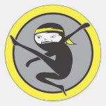 Pegatinas amarillos de la correa de Ninja Etiqueta Redonda