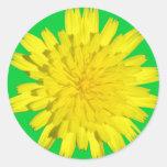Pegatinas amarillos de la flor etiqueta redonda
