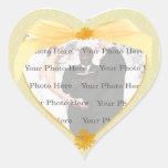 Pegatinas amarillos de la foto del corazón de la pegatina corazon personalizadas