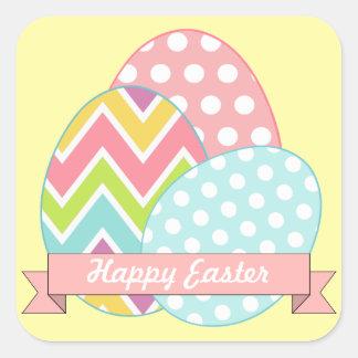 Pegatinas amarillos de los huevos de Pascua Pegatina Cuadrada