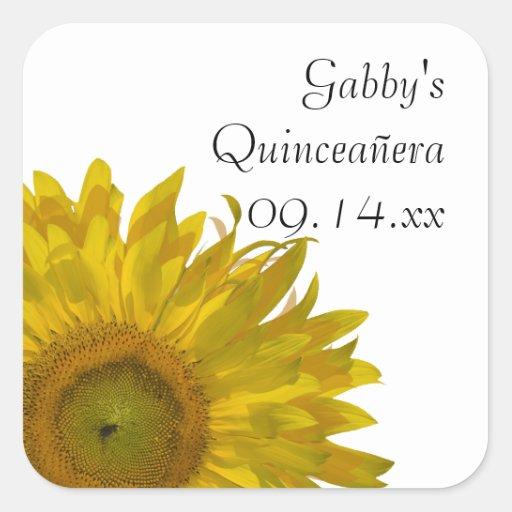 Pegatinas amarillos de Quinceanera del girasol Pegatina Cuadrada