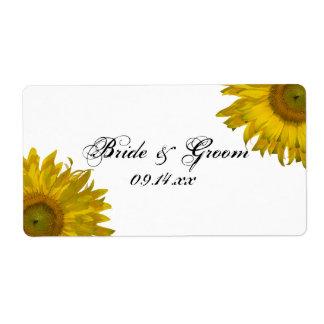 Pegatinas amarillos del boda del girasol etiqueta de envío