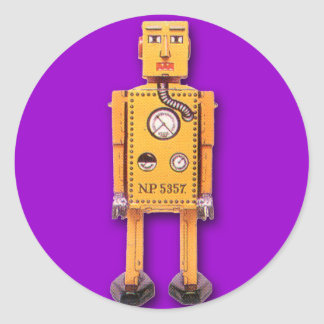 Pegatinas amarillos del robot del juguete (hoja de pegatina redonda